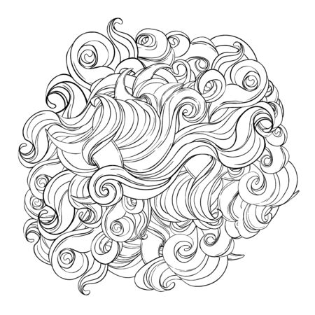 Natural texture. Decorative hand drawn doodle ornamental curly pattern isolated on white. Vector background. Stormy sea line art drawing. Splash ocean, clouds or hair.