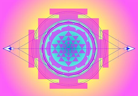 The Sri Yantra or Sri Chakra, form of mystical diagram, Shri Vidya school of Hindu symbol. Sacred geometry vector design element. Vector illustration. Alchemy, occultism, spirituality.