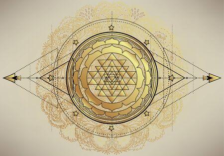 The Sri Yantra or Sri Chakra, form of mystical diagram, Shri Vidya school of Hindu symbol. Sacred geometry vector design element. Vector illustration. Alchemy, occultism, spirituality. Vector Illustration
