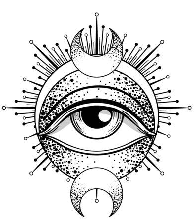 Blackwork tattoo flash. Eye of Providence. Masonic symbol. All seeing eye inside triangle pyramid. New World Order. Isolated vector illustration