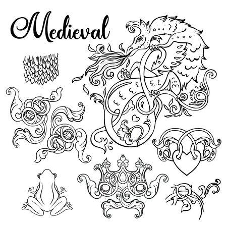 Medieval style elements set. Mythological magic beast Basilisk, legendary bizarre creature. Decorative design. Dragon, burning flame. Vector illustration. Coloring book for adults. Иллюстрация