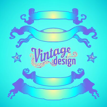 Vintage design elements set. Ribbons in bright neon colors. Vector illustration. 1980s style. Ornate vector decoration. Luxury, royal and Victorian concept design. Heraldic floral texture.