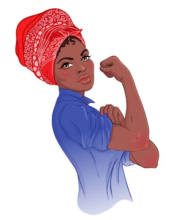 We can do it. Design inspired by classic feminist poster. Woman empowerment. Vector Illustration in cartoon style. African American girl with her fist raised up. International women day concept. Illusztráció
