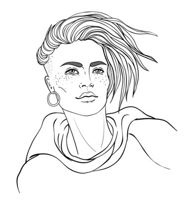 Portrait of a young pretty caucasian woman with short pixie cut. Vector illustration isolated. Hand drawn art of a boyish looking girl. Modern street subculture haircut for woman. Vetores