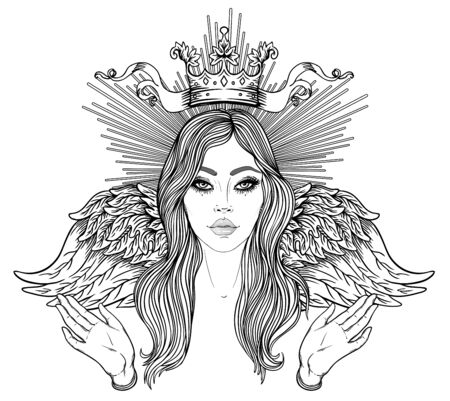 Madonna, Lady of Sorrow. Devotion to the Immaculate Heart of Blessed Virgin Mary, Queen of Heaven. Vector illustration isolated on white. Coloring book for adults. Tattoo design. 向量圖像