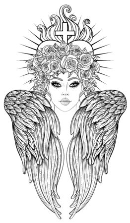 Angel girl with wings and halo. Isolated hand drawn vector illustration. Trendy Vintage style element. Spirituality, occultism, alchemy, magic. Coloring book. 向量圖像