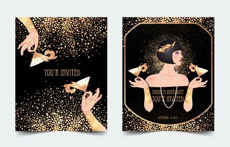 Female hand holding cocktail glass with splash. Art deco 1920s style vintage invitation template design for drink list, bar menu, glamour event, thematic wedding, jazz party flyer. Vector art.