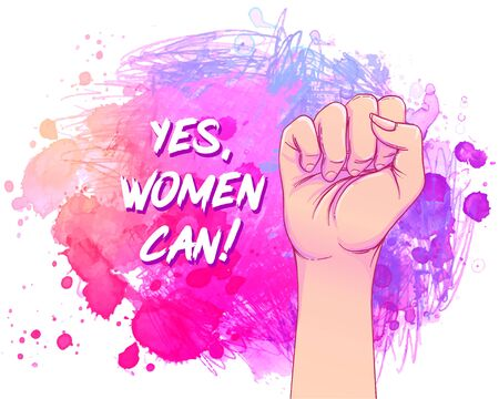 Yes, Women Can. Woman hand with her fist raised up over watercolor. Girl Power. Feminism concept. Realistic style vector illustration