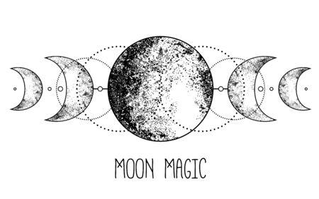 Triple moon pagan Wicca moon goddess symbol. Three-faced Goddess. Maiden, Crone vector illustration. Coloring book Vektoros illusztráció