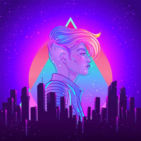 Portrait of a young pretty androgynous woman with short shaved pixie undercut in retro futurism style. Vector illustration in neon bright colors. Blue short hair. futuristic synth wave flyer template. Illustration