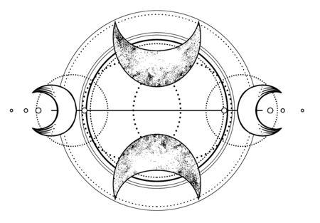 Triple moon pagan Wicca moon goddess symbol. Three-faced Goddess. Maiden, Crone vector illustration. Coloring book