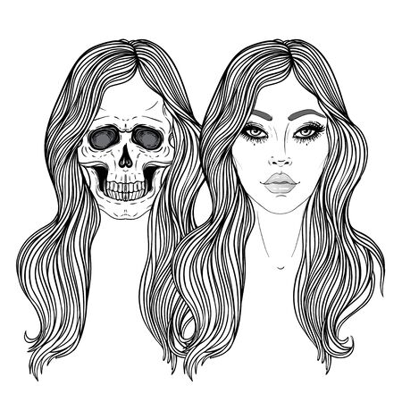 Dead and alive girls with long hair, mysticism, tattoos. Hand drawn print for T-shirts, background white. Vector illustration isolated. Coloring book for adults. Standard-Bild - 141189598
