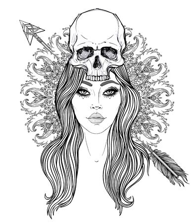 Shaman woman with a long hair and human skull on her head. Vector illustration with mandala background. Scary design for tattoo, hipster t-shirt design, vintage style poster. Standard-Bild - 141189606