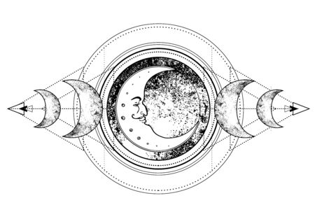Triple moon pagan Wicca moon goddess symbol. Three-faced Goddess. Maiden, Crone vector illustration. Coloring book Иллюстрация