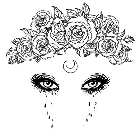 Black and white drawing of beautiful eyes with moon and roses. Vector illustration isolated. Emotions expression of sadness. Madonna, Lady of Sorrow.