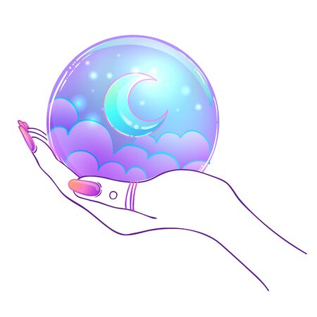 Female hand holding Magic Crystal Ball isolated on white. Creepy cute vector illustration. Gothic design, mystic magician symbol, pastel colors. Future telling, Halloween concept.