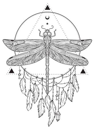 Dragonfly over sacred geometry sign, isolated vector illustration. Tattoo sketch. Mystical symbols and insects. Alchemy, occultism, spirituality, coloring book. Hand-drawn vintage. Stock Illustratie