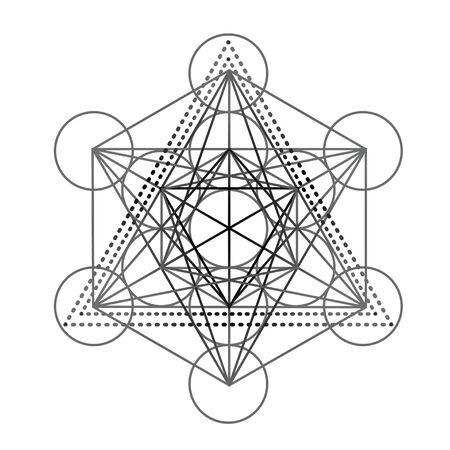 Cube de Métatrons, Fleur de vie, plumes. Illustration vectorielle hipster isolée. Design ethnique, boho, symbole tribal dreamcatcher. Livre de coloriage pour adultes