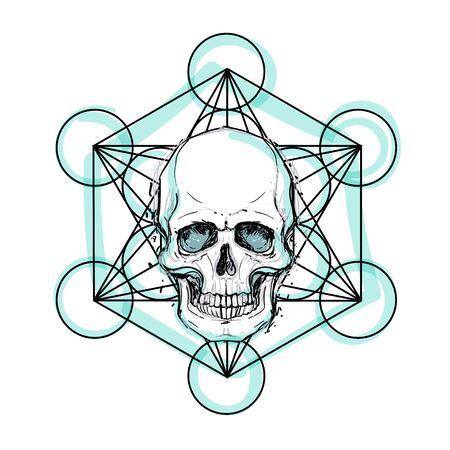 Human skull over sacred geometry symbol. Demon, fairy tale character. Mystical circle. Esoteric. Monochrome drawing isolated on white. Vector illustration. Poster, t-shirt print design.