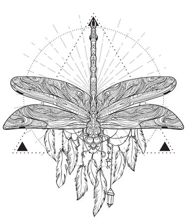 Dragonfly over sacred geometry sign, isolated