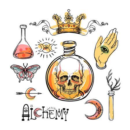 Alchemy symbol icon set on white