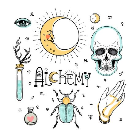 Alchemy symbol icon set. Spirituality, occultism, chemistry, magic tattoo concept. Vintage vector illustration collection with mystic and occult signs. Halloween, astrological elements. Illustration