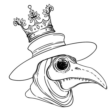 Vector gothic illustration of plague doctor on white