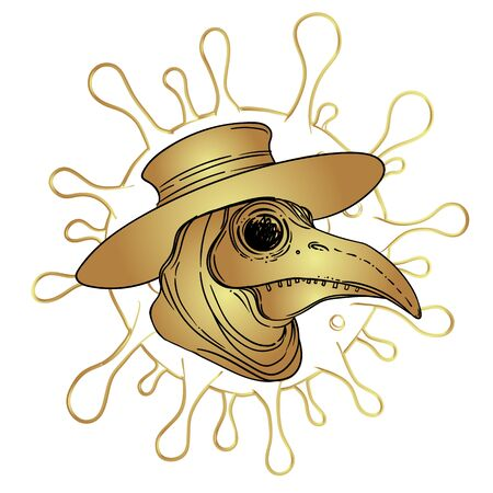 Vector gothic illustration of plague doctor. Tattoo art. Sketchy style. Medieval venetian scary bird mask. Alchemy, tattoo art, t-shirt design. Medieval medicine.