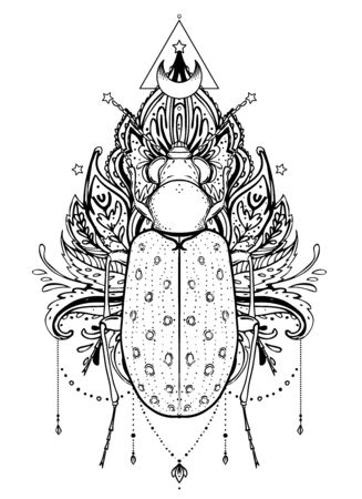 Black and white beetle over sacred geometry, isolated vector illustration. Tattoo sketch. Mystical symbols and insects. Alchemy, religion, occultism, spirituality, coloring book. Hand-drawn vintage.