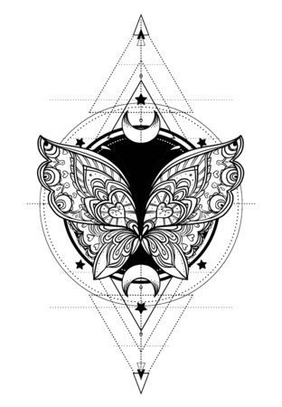 Black and white butterfly over sacred geometry sign, isolated vector illustration. Tattoo sketch. Mystical symbols and insects. Alchemy, occultism, spirituality, coloring book. Hand-drawn vintage.