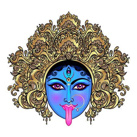 Porträt der indischen Hindi-Göttin Kali. Weiblicher blauer Kopf mit offener Motte und herausgeklebter Zunge. Zerstörer der bösen Mächte. Diät, spirituelle Kunst. Okkultismus und Hexerei. Isolierte Vektorgrafik.