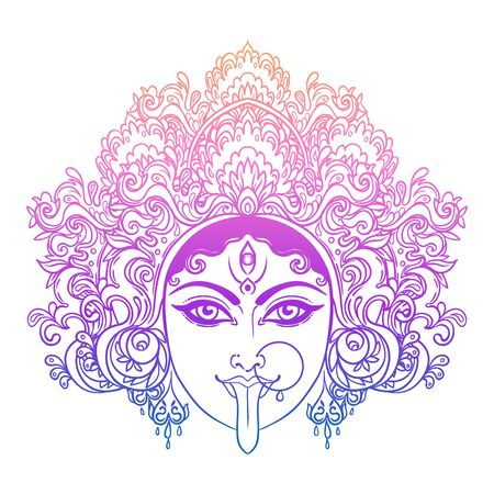 Portrait of Indian Hindi goddess Kali. Female blue head with open moth and out stuck tongue. Destroyer of evil forces. Diety, spiritual art. Occultism and witchcraft. Vector isolated illustration. Standard-Bild - 143923046