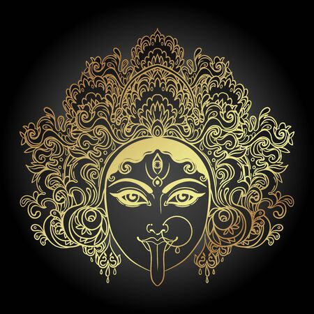 Portrait of Indian Hindi goddess Kali. Female blue head with open moth and out stuck tongue. Destroyer of evil forces. Diety, spiritual art. Occultism and witchcraft. Vector isolated illustration. Standard-Bild - 143923048