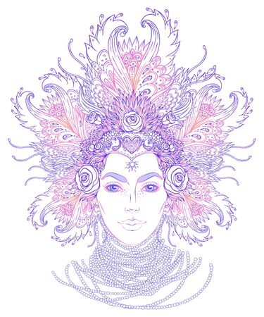Tribal Fusion Boho Goddess. Beautiful divine diva girl with ornate crown, kokoshnik inspired. Bohemian goddess. Hand drawn elegant illustration. Lotus flower, ethnic art, patterned Indian paisley.