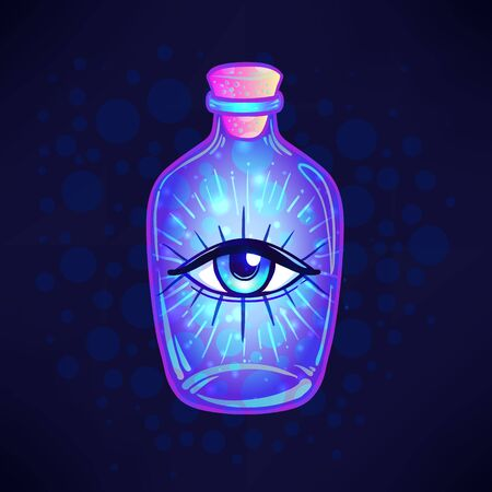 Magic potion. blue bottle jar with all seeing eye and glowing stars inside. Greeting Card. Vector illustration isolated on white. Valentines day concept. Illustration