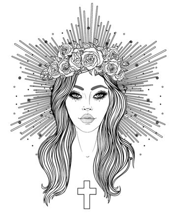 Madonna, Lady of Sorrow. Devotion to the Immaculate Heart of Blessed Virgin Mary, Queen of Heaven. Vector illustration isolated on white. Coloring book for adults. Tattoo design. 일러스트