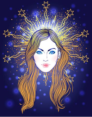 Madonna, Lady of Sorrow. Devotion to the Immaculate Heart of Blessed Virgin Mary, Queen of Heaven. Vector illustration isolated. 일러스트