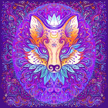 Cute fox face over psychedelic ornate pattern. Character tattoo design for pet lovers, artwork for print, textiles. Detailed vector illustration. Totem animal. Banco de Imagens
