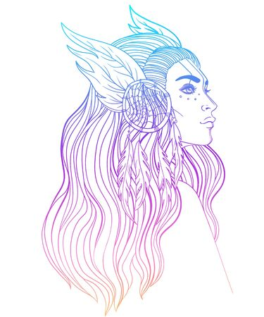 Isolated on white illustration of Native American Indian girl with feathers and dream catcher. Tribal Fusion Boho Diva.