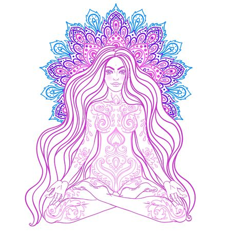 Chakra concept. Girl sitting in lotus position over colorful ornate mandala. Vector ornate decorative illustration isolated on white. Buddhism esoteric motifs. Tattoo, spiritual yoga.