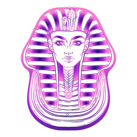 King Tutankhamun mask, ancient Egyptian pharaoh. Hand-drawn vintage vector outline illustration. Tattoo flash, t-shirt or poster design, postcard, coloring book page. Egypt history.