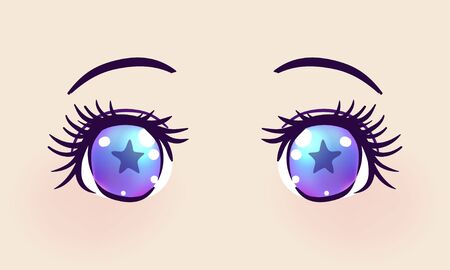 Colorful beautiful eyes in anime (manga) style with shiny light reflections. Bright vector illustration isolated. Emotions: expression of sadness. Pastel goth colors. Japanese kawaii cartoon.