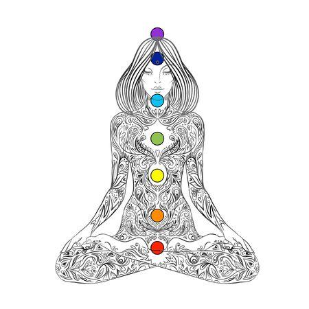 Yoga. Woman ornate silhouette sitting in lotus pose over ornamental flower, ethnic art. Illustration