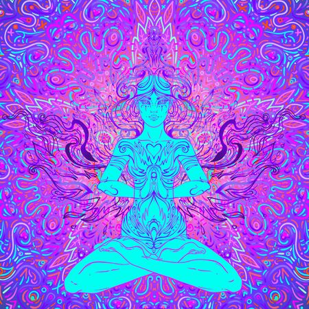 Beautiful Girl sitting in lotus position over ornate colorful neon Illustration