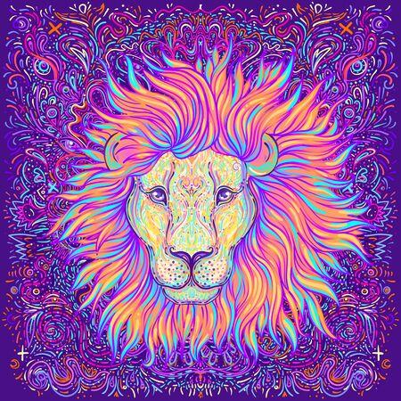 Patterned ornate lion head.