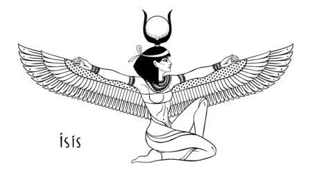 Isis, Göttin des Lebens und der Magie in der ägyptischen Mythologie. Eine der größten Göttinnen des alten Ägypten, beschützt Frauen, Kinder, heilt Kranke. Vektor lokalisierte Illustration in Schwarzweiss. Geflügelte Frau.
