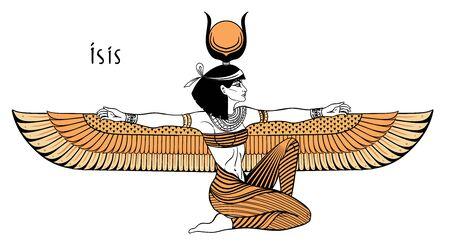 Isis, Göttin des Lebens und der Magie in der ägyptischen Mythologie. Eine der größten Göttinnen des alten Ägypten, beschützt Frauen, Kinder, heilt Kranke. Isolierte Vektorgrafik. Geflügelte Frau. Drucken, Plakat.
