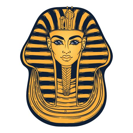 King Tutankhamun mask, ancient Egyptian pharaoh. Hand-drawn vintage vector outline illustration. Tattoo flash, t-shirt or poster design, postcard. Egypt history. 向量圖像