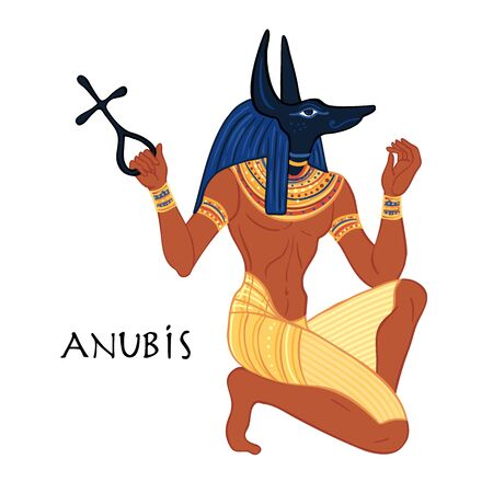 Portrait of Anubis. in Ancient Egyptian, god of death, mummification, embalming, the afterlife, cemeteries, tombs, and the Underworld. Vector isolated illustration. A man with the head of a jackal or wolf.