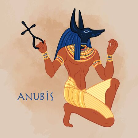 Portrait of Anubis. in Ancient Egyptian, god of death, mummification, embalming, the afterlife, cemeteries, tombs, and the Underworld. Vector isolated illustration. A man with the head of a jackal or wolf. Фото со стока - 148091273